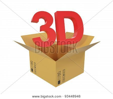Open cardboard box with 3D text above the box.