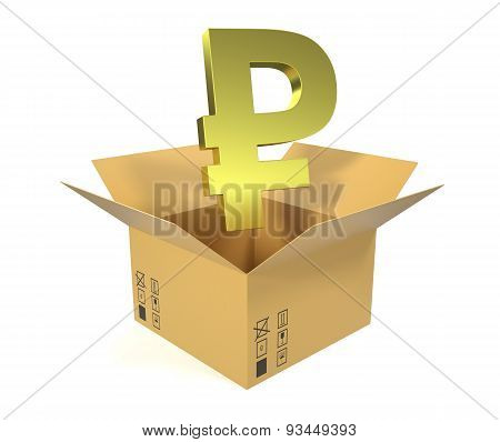 Cardboard box with a gold ruble currency up isolated on white background.