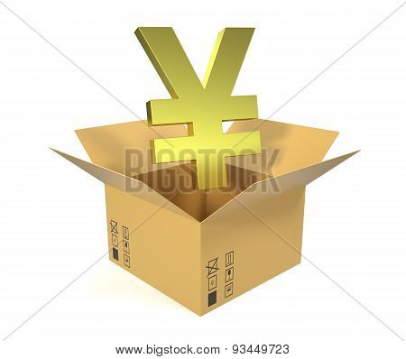 Cardboard box with a symbol of the yuan, jpy isolated on white background.