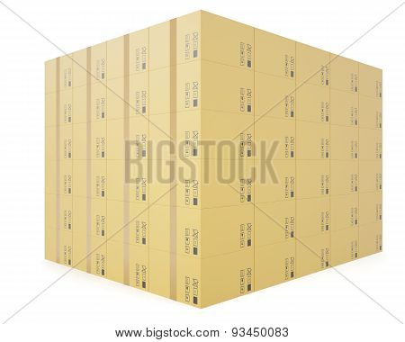 Warehouse concept of stacked cardboard boxes for transportation of shipping isolated on a white back