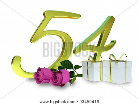 fifty-first birthday concept with pink roses - 54th