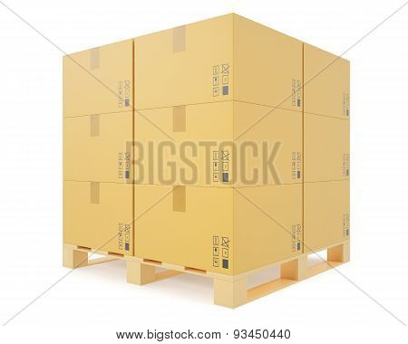 Warehouse concept of stacked cardboard boxes on wooden pallets for transportation of shipping isolat