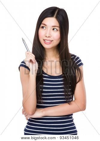 Asian woman think of idea with holding a pen