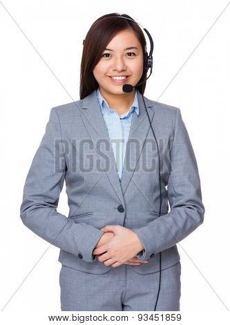 Businesswoman with headset for customer services