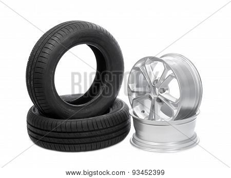 Two Wheels And Tires For The Car.