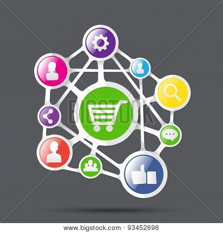 Shopping Cart With Social Network Icon, Connection Business Concept, Vector Illustration