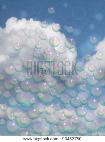 Bubbles On Blue Sky