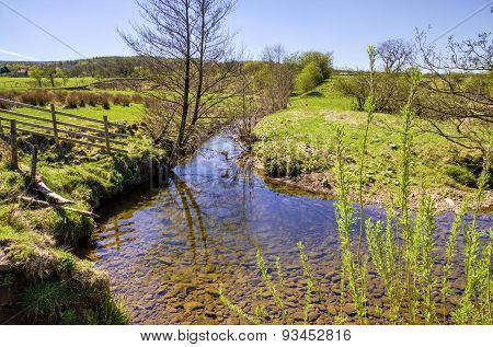 Scenic stream with bare tree and wooden fence.