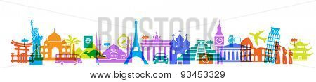 Abstract design with famous landmarks. Vector illustration. Modern design template. File is saved in AI10 EPS version. This illustration contains a transparency
