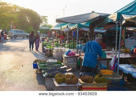 Local Food Market In Miri, Borneo, Malaysia