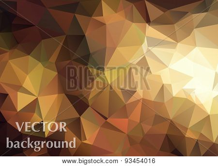 Abstract Vector Background Of Triangles Polygon Wallpaper. Web Design In Autumn Colors