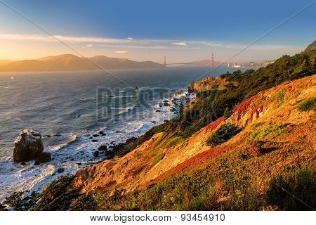Golden Gate Gulf in San Francisco at sunset