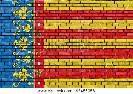 Flag Of Valencian Community Painted On Brick Wall