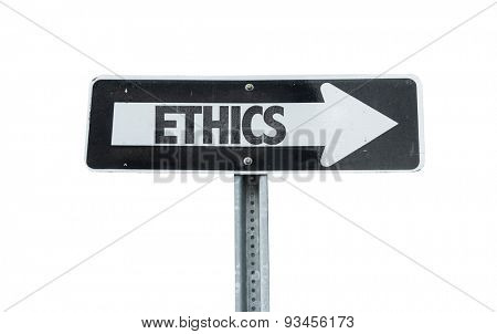 Ethics direction sign isolated on white