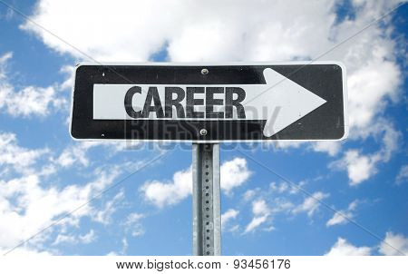 Career direction sign with sky background