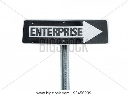 Enterprise direction sign isolated on white