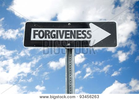 Forgiveness direction sign with sky background