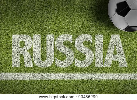 Soccer field with the text: Russia