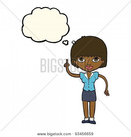 cartoon woman with thought balloon
