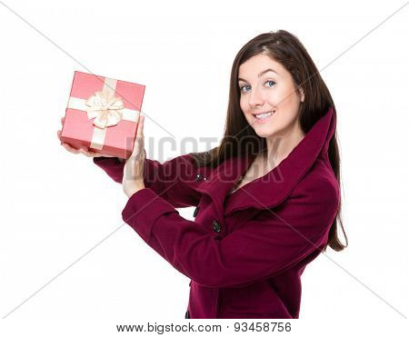 Woman holding up gift box
