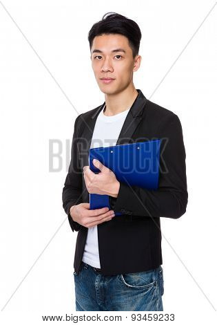 Businessman holding with clipboard