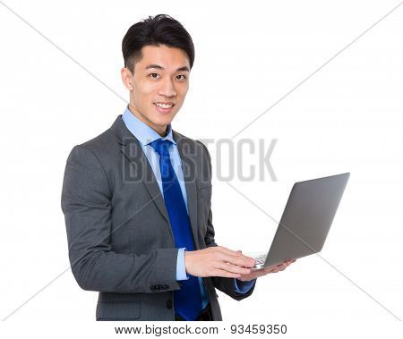Businessman use of portable computer