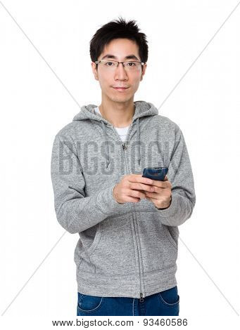 Young man use of cellphone