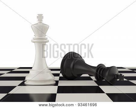 Defeated black king on the chessboard.