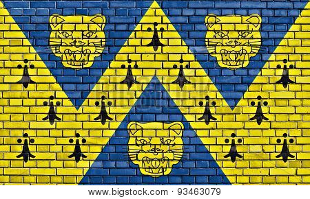 Flag Of Shropshire Painted On Brick Wall
