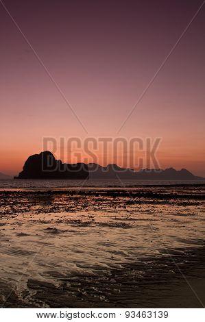 Sunset At Beach In Krabi Thailand