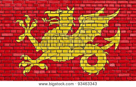 Flag Of Wessex Painted On Brick Wall
