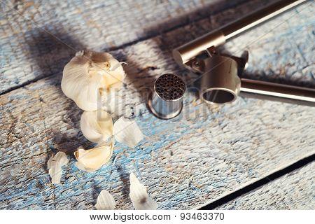 Garlic on a table