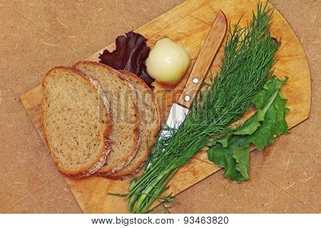 Fresh Dill,bread And Knife On Cutting Board.top View.