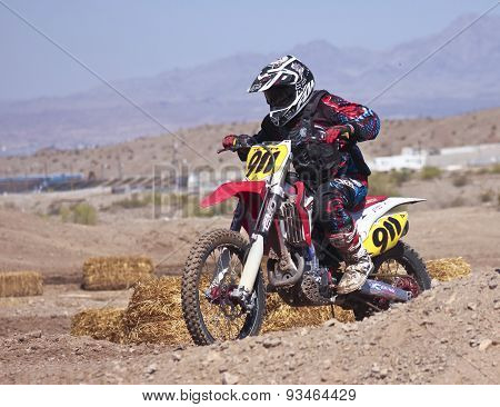 A Close Up Motocross Racer Practices At Sara Park