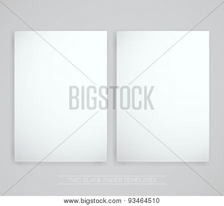 Two Blank Papers | Vector Illustration