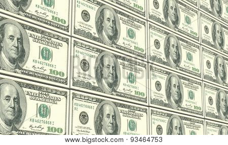 American dollar bills stacks background.