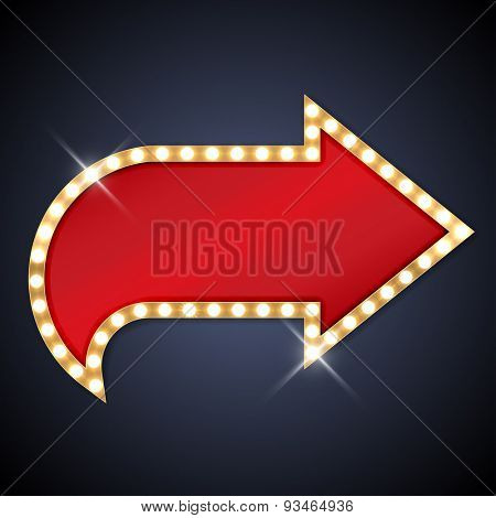 Retro light bulb arrow with space for text