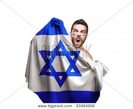 Fan holding the flag of Israel on white background