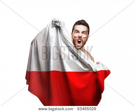Fan holding the flag of Poland on white background