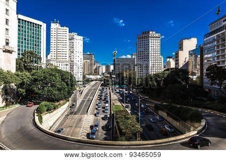 9 de Julho Avenue in Sao Paulo, Brazil