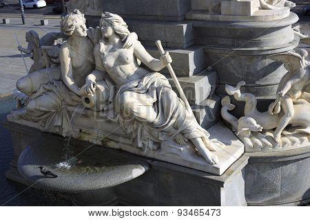 Fountain Of The Austrian Parliament In Vienna, Austria
