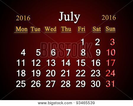 Calendar On July Of 2016 On Claret