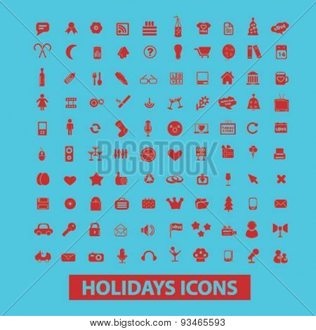 holidays icons, signs, illustrations set, vector