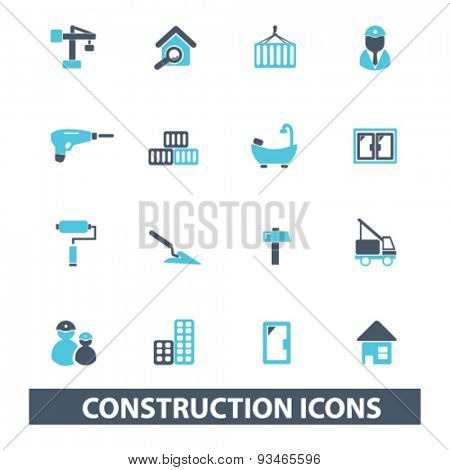 construction icons, signs, illustrations set, vector