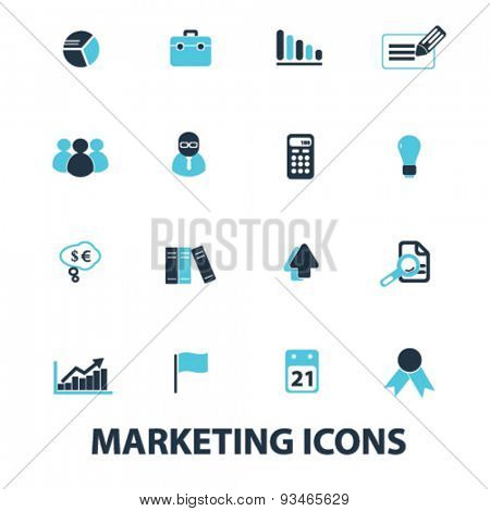 marketing, management icons, signs, illustrations set, vector