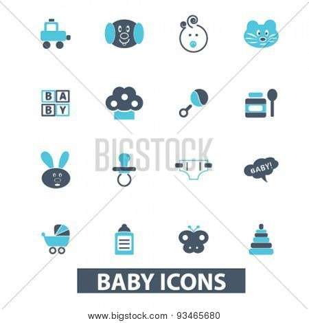 baby, children, toys, kids icons, signs, illustrations set, vector