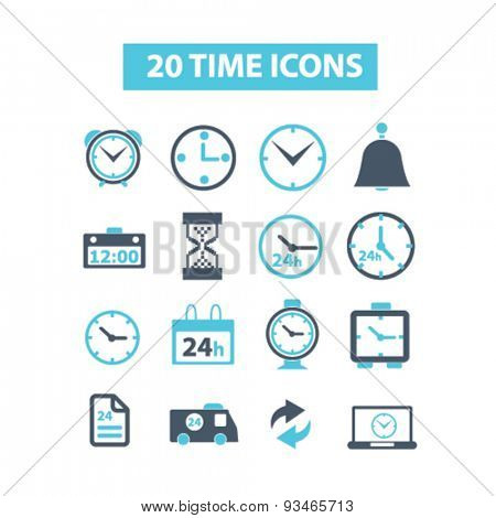 20 time, clock icons, signs, illustrations set, vector
