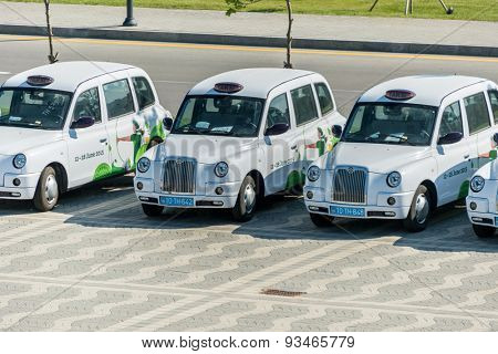 BAKU - MAY 10, 2015: London Cabs on May 10 in BAKU, Azerbaijan. London Cabs were brought to Baku to support the first European Games