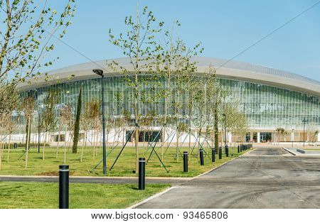 BAKU - MAY 10, 2015: Baku Aquatics center on May 10 in BAKU, Azerbaijan. Baku Azerbaijan will host the first European Games