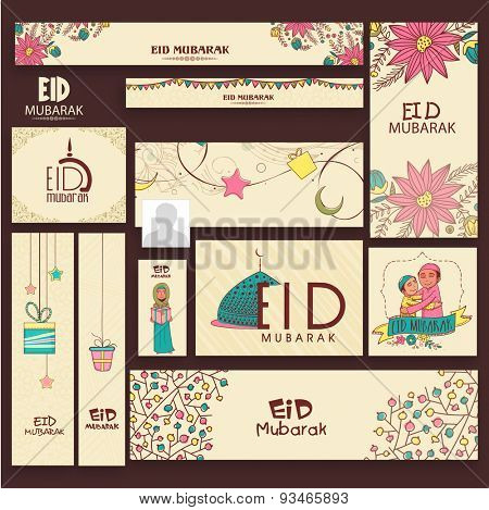 Beautiful decorated social media headers, banners, post or ads for muslim community festival, Eid Mubarak celebration.